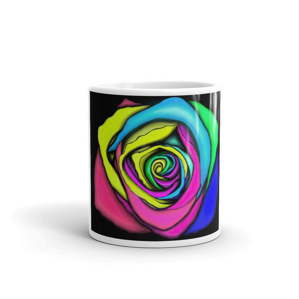 Rainbow Rose Flower Coffee Mug