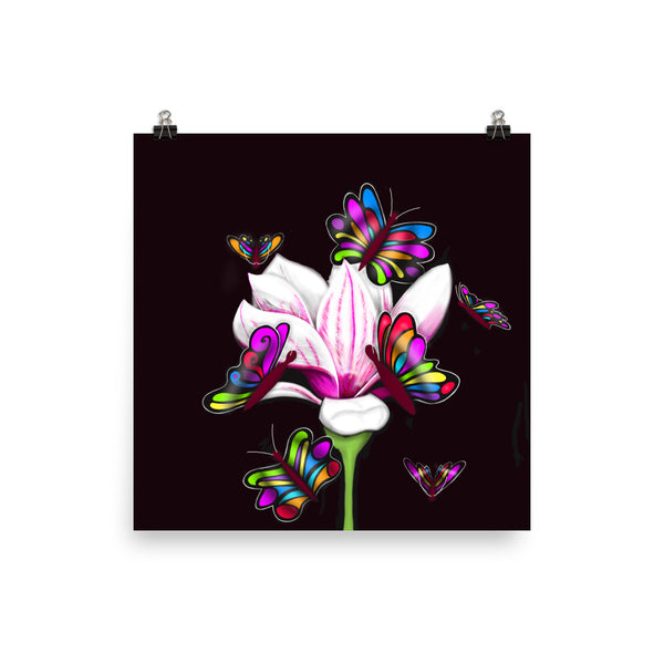 Pinkish Butterfly Flower Print
