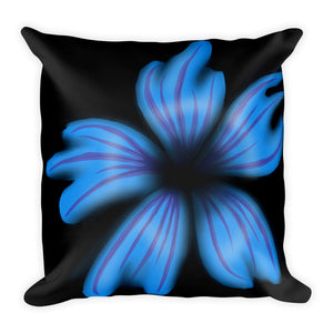 Blue Flower Abstract Throw Pillow