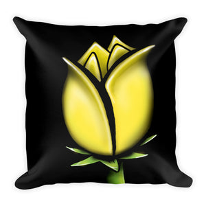 Yellow Abstract Flower Floral Throw Pillow