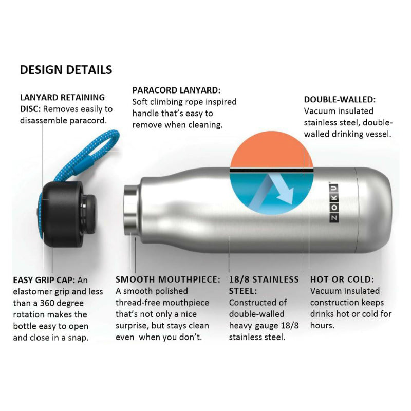 Zoku Vacuum Insulated Stainless Steel Bottles 750ml