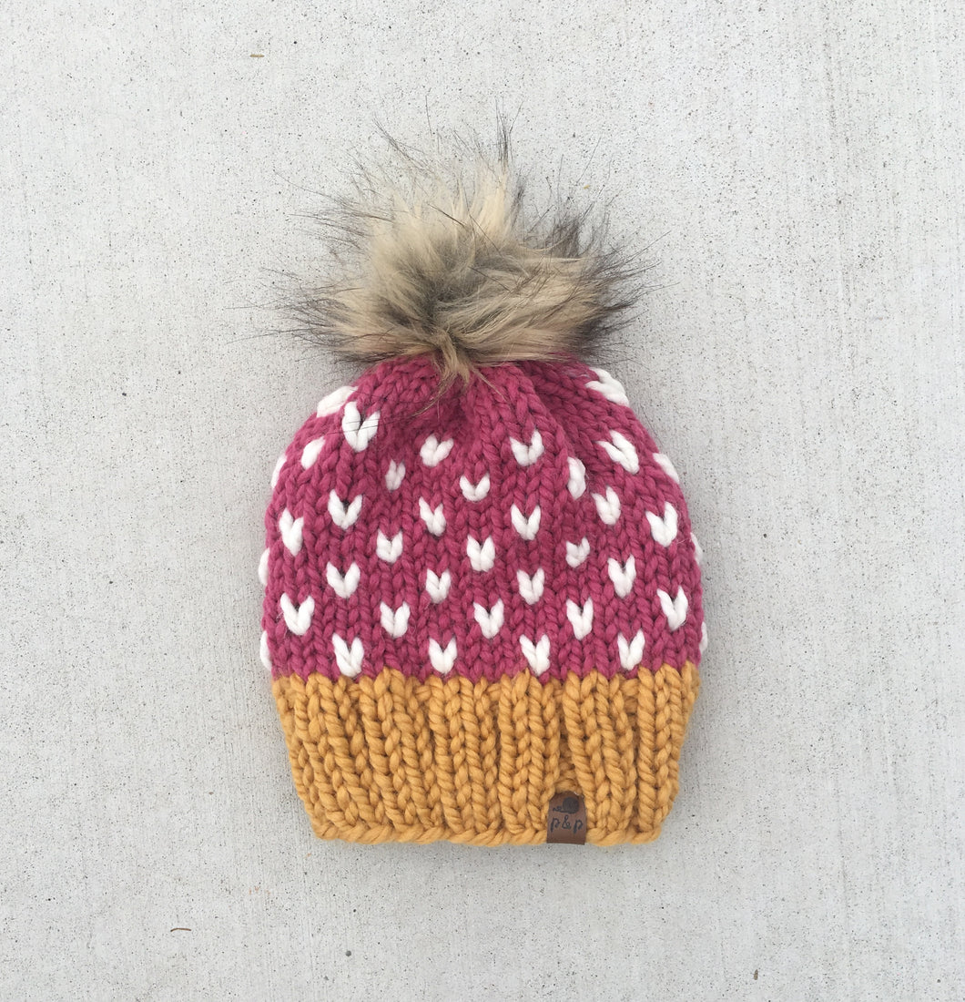 Color Dipped Mini Heart Knit Hat Custom Order
