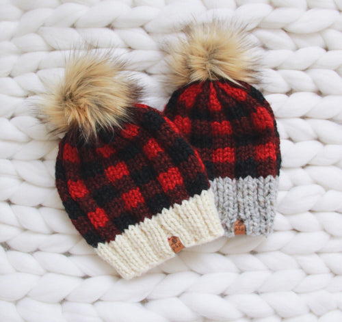 Buffalo Plaid Knit Hat Custom