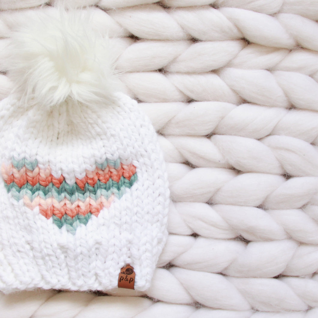 Love You More Pastel Rainbow Knit Hat Custom Order