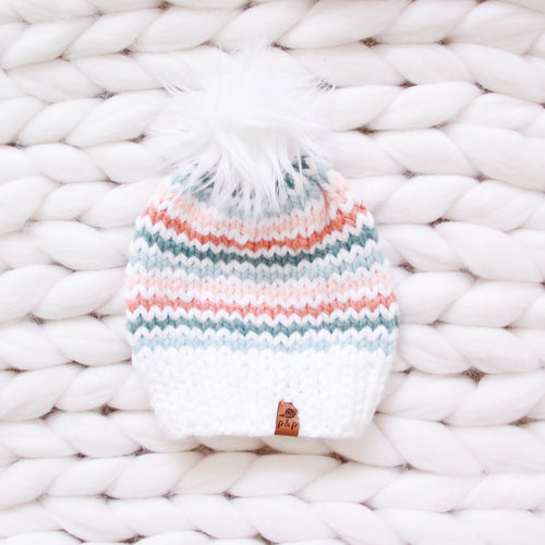 Pastel Rainbow Stripes Knit Hat Custom Order