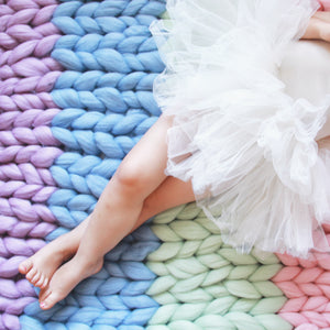 Rainbow Chunky Knit Blanket Custom