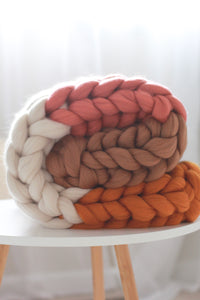 Neutral Color Block Chunky Knit Blanket