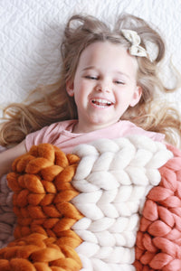 Neutral Rainbow Chunky Knit Blanket