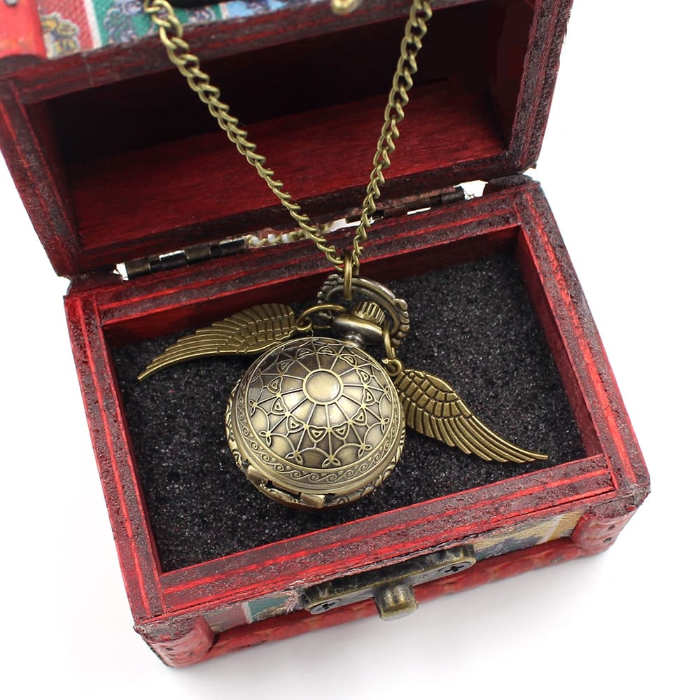 Wellcomics Harri Potter Golden Snitch Owl Wings Symbol Pocket Watch Pendant Bronze Metal Necklace Chain + Wooden Box Collection