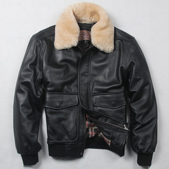 Sheepskin flight jacket with fur collar