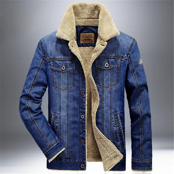 MEN'S DENIM AIR FORCE WINTER BOMBER JACKET