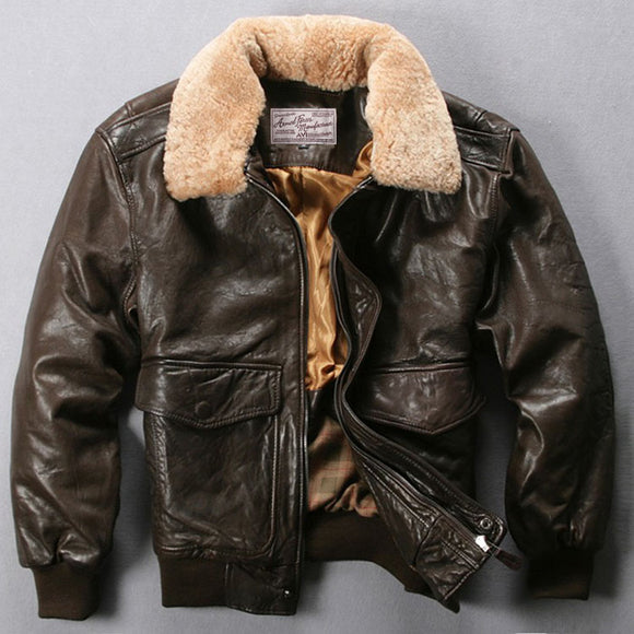 Fur Collar Leather Flight Jacket
