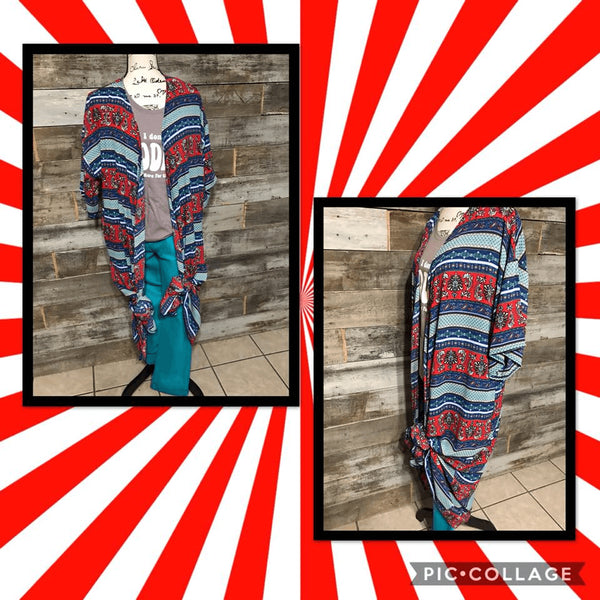 BOHO RED/TURQUOISE DUSTER