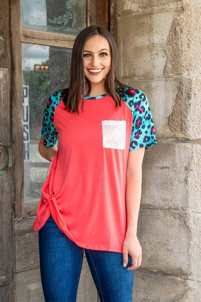 CORAL TURQUOISE LEOPARD TOP