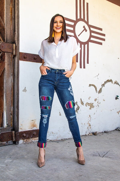 DARK WASH SKINNY JEANS with SERAPE PATCHES