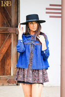 DENIM EMBROIDERED TIE JACKET