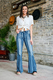 DENIM STRIPE FLARES