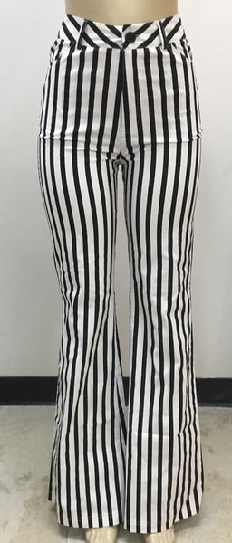 THE JAILBIRD-BLACK/WHITE BELL BOTTOM PANTS