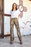LEOPARD WIDE LEG DENIM FLARE