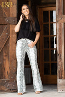 SNAKE FLARES-HIGH RISE JEANS