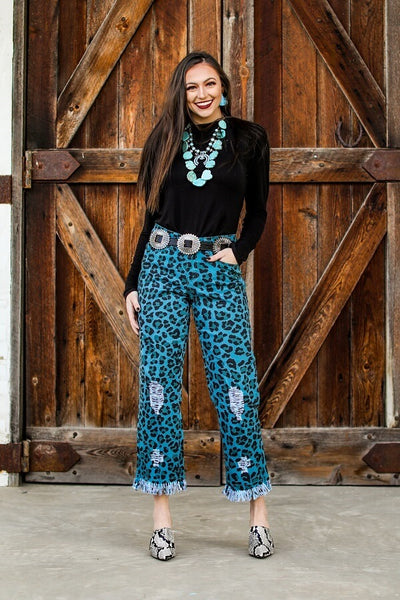 TEAL LEOPARD BF JEANS