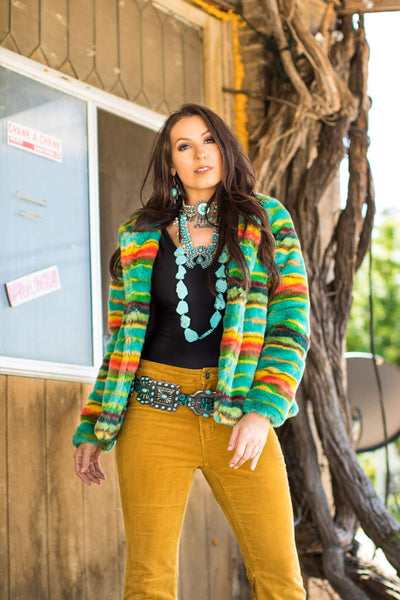 TEAL SERAPE FUR JACKET