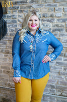 THE DALE EVANS CHAMBRAY PEARL SNAP SHIRT