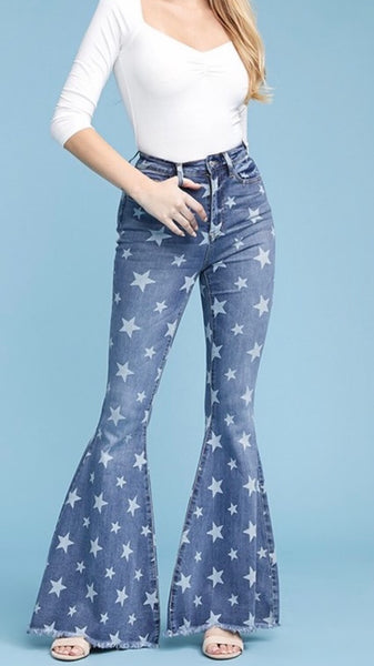 THE STARS AT NIGHT~~PRINTED DENIM BELL BOTTOMS
