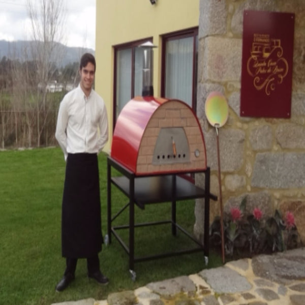 Authentic Pizza Ovens Maximus Prime Countertop Pizza Oven in Restaurant Backyard with Chef