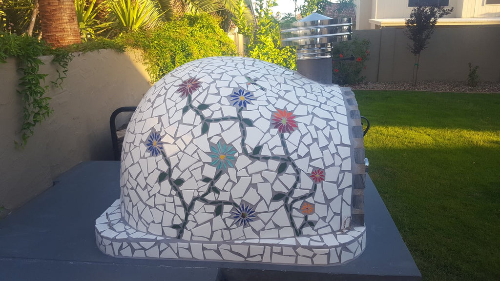 Authentic Pizza Ovens Pizzaioli Built-In or Countertop Wood Fired Pizza Oven Mosaic Tile Flowers
