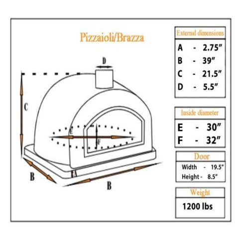 Authentic Pizza Ovens Pizzaioli Countertop Pizza Oven Specification Sheet