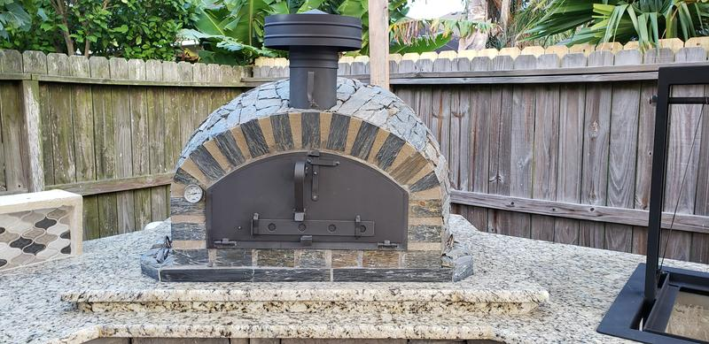 Authentic Pizza Ovens Pizzaioli Stone Finish Built-In or Countertop Wood Fired Pizza Oven Back Yard Patio
