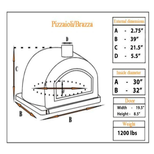 Authentic Pizza Ovens Premium Buena Ventura Red Brick Countertop Pizza Oven Specification Sheet