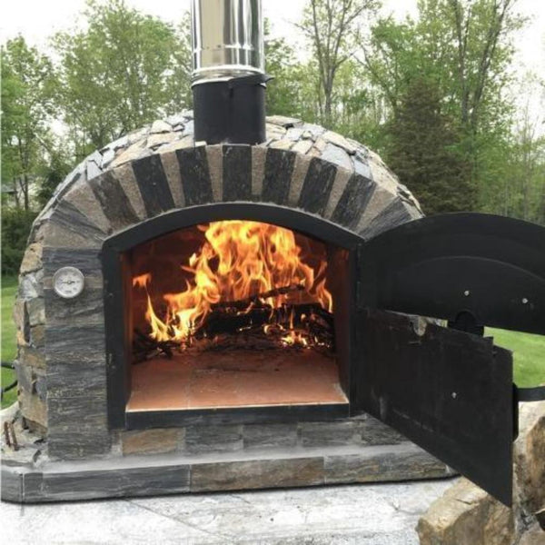Authentic Pizza Ovens Premium Lisboa Stone Finish Countertop Pizza Oven with Both Doors Open and Fire Burning Inside Oven