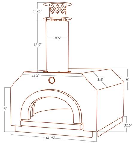 Chicago Brick Oven CBO 500 Countertop Wood Fired Pizza Oven CBO-O-CT-500 Dome Dimensions