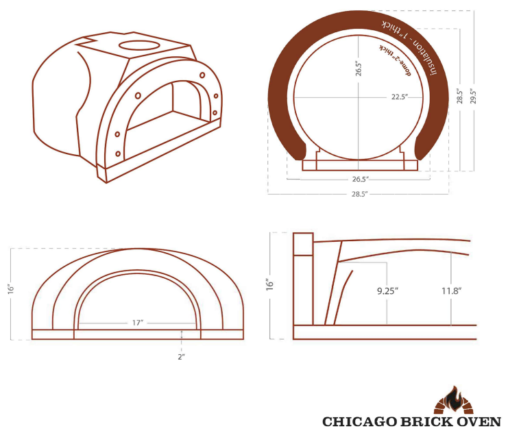 Chicago Brick Oven CBO 500 Wood Fired Pizza Oven Kit CBO-O-KIT-500 Dome Dimensions