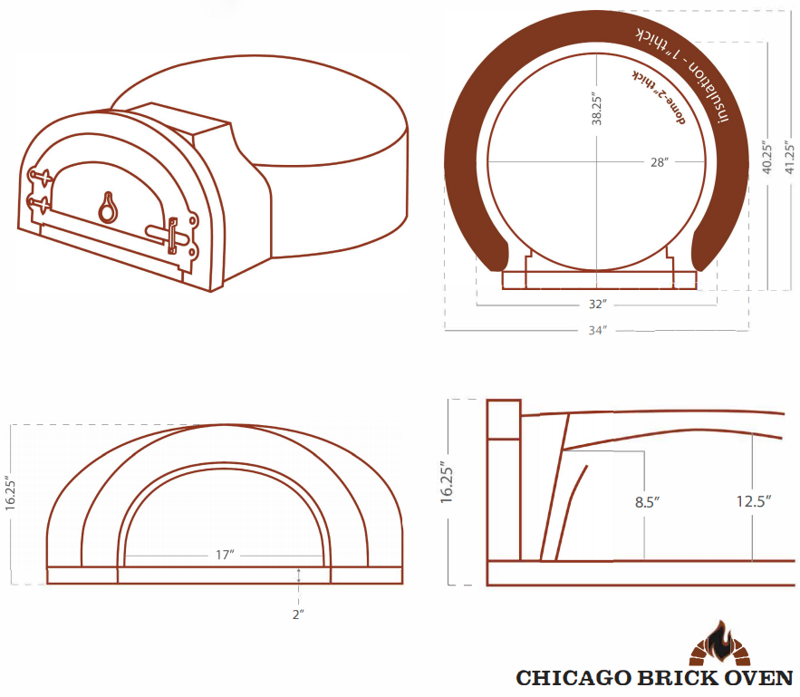 Chicago Brick Oven CBO 750 Wood Fired Pizza Oven Kit CBO-O-KIT-750 Dome Dimensions