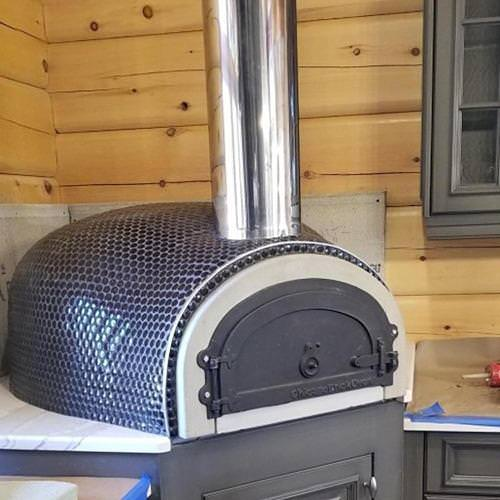 Chicago Brick Oven CBO 500 Pizza Oven DIY Kit with Tile on the Outside Indoors