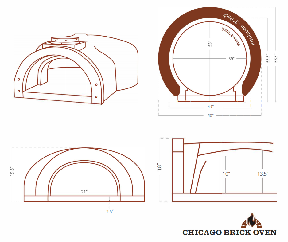 Chicago Brick Oven CBO 1000 Commercial Wood Fired Pizza Oven Kit CBO-O-KIT-1000 Dome Dimensions