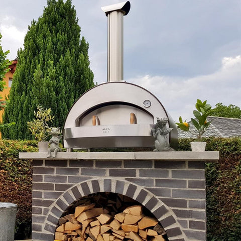 Alfa Forni 4 Pizze Countertop Wood Fired Pizza Oven on Outdoor Counter