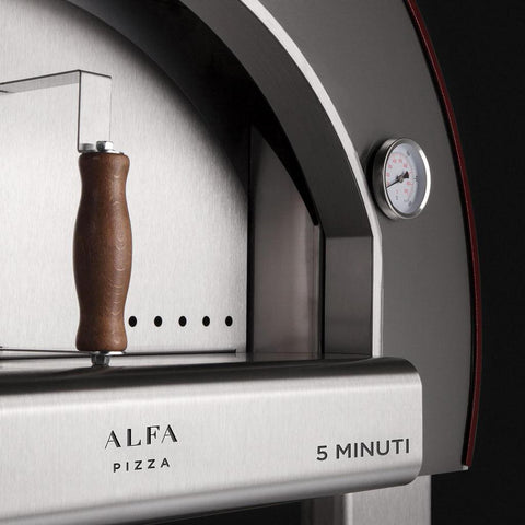 Alfa Forni 5 Minuti Countertop Pizza Oven Door and Thermometer Side View