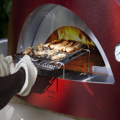 Alfa Allegro Countertop Wood Fired Pizza Oven Cooking Meat