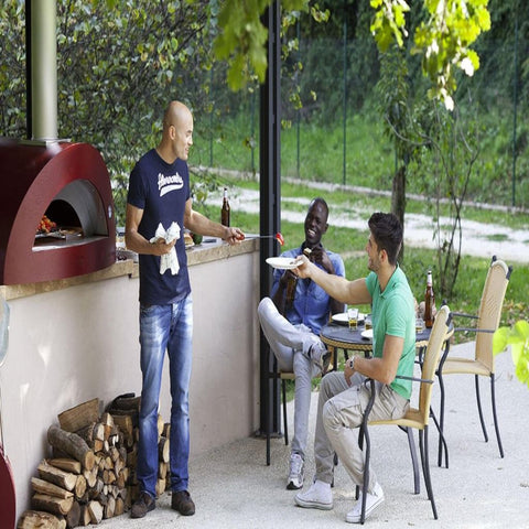 Image of Alfa Allegro Countertop Wood Fired Pizza Oven On Patio With Friends