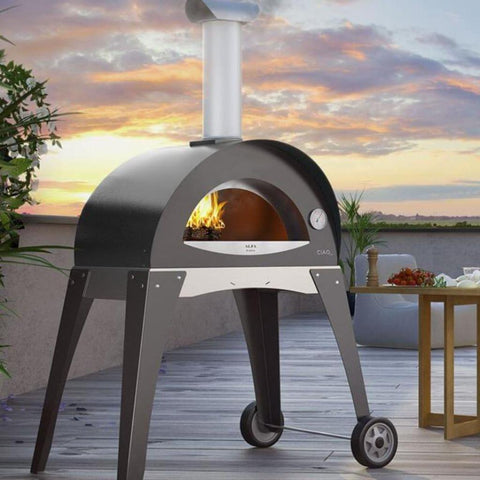 Alfa Forni Ciao M Wood Fired Pizza Oven Leg Kit on Back Porch
