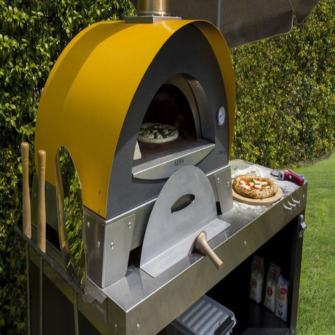 Image of Alfa Ciao M Countertop Wood Fired Pizza Oven Cooking Pizza