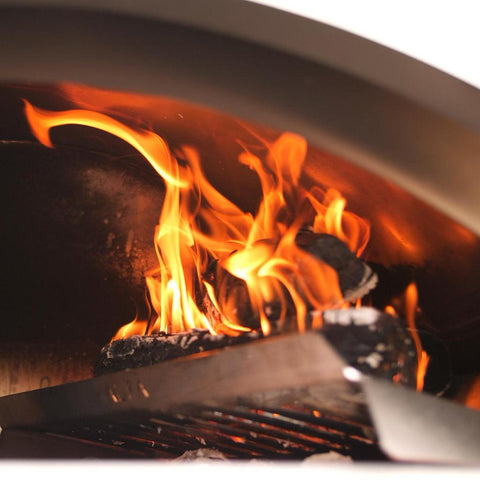 Image of Alfa Forni L37 Wood Holder Side View on Fire For Ciao and 5 Minuti Pizza Ovens