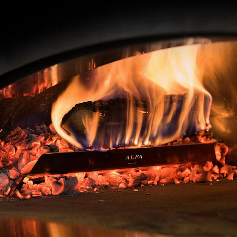 Image of Alfa Forni L37 Wood Holder on Fire in Oven For Ciao and 5 Minuti Pizza Ovens