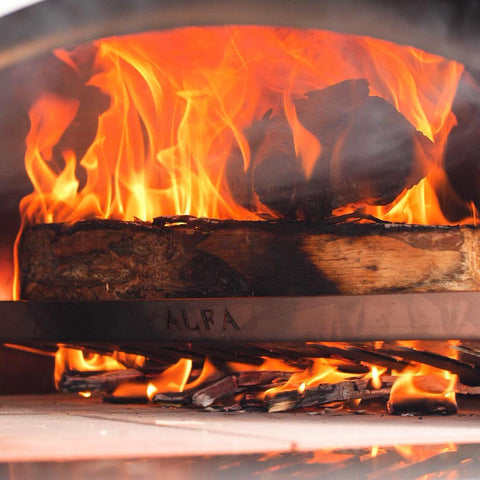 Image of Alfa Forni L37 Wood Holder Close Up in Oven For Ciao and 5 Minuti Pizza Ovens