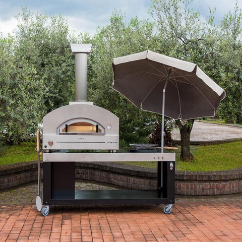 Alfa Stone Gas Pizza Oven Countertop on Preparation Cart in Back Yard