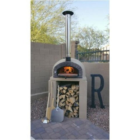 "Authentic Pizza Ovens 38"" Stainless Steel Chimney Pipe Extension Traditional Pizza Oven on Base Backyard Patio"
